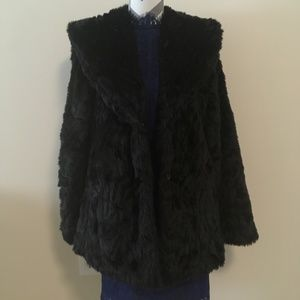 C&C California Black Fuzzy Faux Fur Jacket L